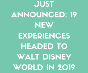 JUST ANNOUNCED: 19 New Experiences Headed to Walt Disney World in 2019